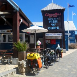 Coffee stop in Freeo, Western Australia - Cycling Across Australia
