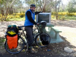 Tim would do anything to see the footy results - Cycling Across Australia
