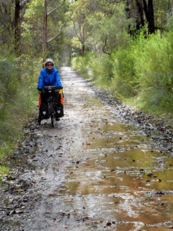 Bit wet on the Rail Trail, Margaret River, Western Australia - Cycling across Australia