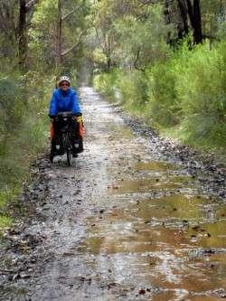 Bit wet on the Rail Trail, Margaret River, Western Australia - Cycling across Australia