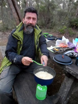 Tim Cooking Dinner, Western Australia - Cycling Across Australia