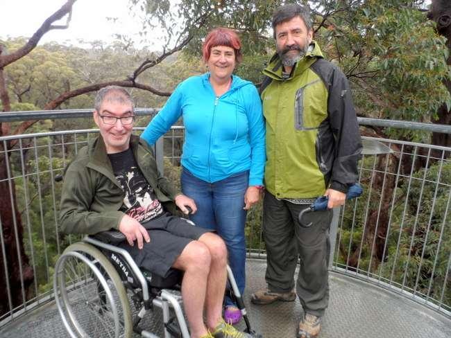 Meeting Friends - Giant Tree Walk - Cycling Across Australia