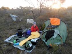 Getting everything ready for the night, Western Australia - Cycling Across Australia