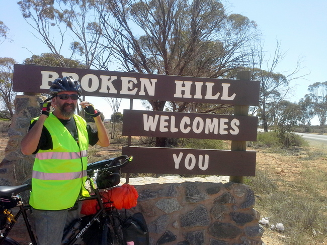 Arriving in Broken Hill by Bicycle - Cycling Across Australia