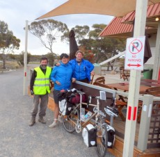 New Korean friend Balladonia, Cycling Across the Nullarbor, Australia