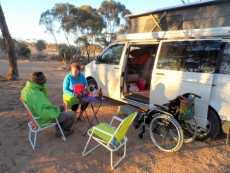 Tim and Helen - Balladonia, Cycling Across the Nullarbor, Australia