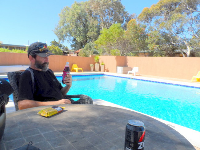 By the pool - Eucla, Cycling Across the Nullarbor, Australia