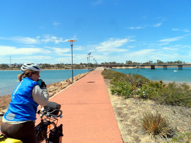 Bike Path across the water, Pt Augusta, South Australia - Cycling Across Australia