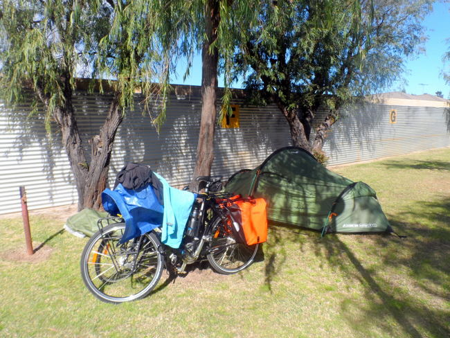 The Tent - With all the Gear Stashed - Cycling Across Australia