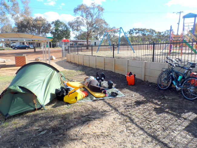 Crashed out on the Thermarest - Cycling Across Australia