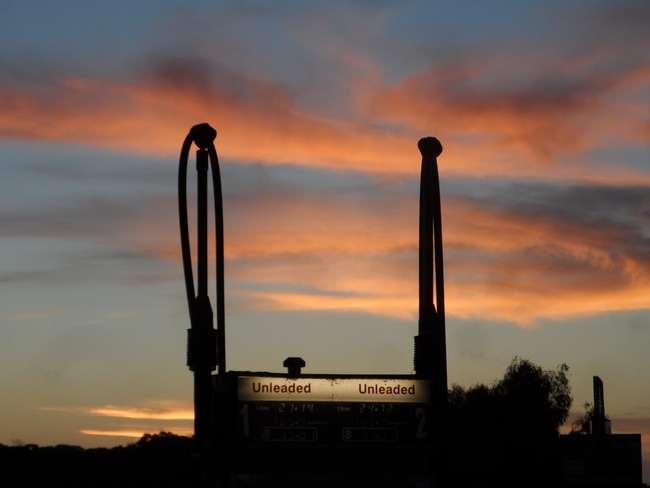 Sunset Over the Pumps - Salt Creek - cycling Across Australia