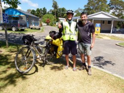 Tim with JAeson and his Bike - Cycling Across Australia