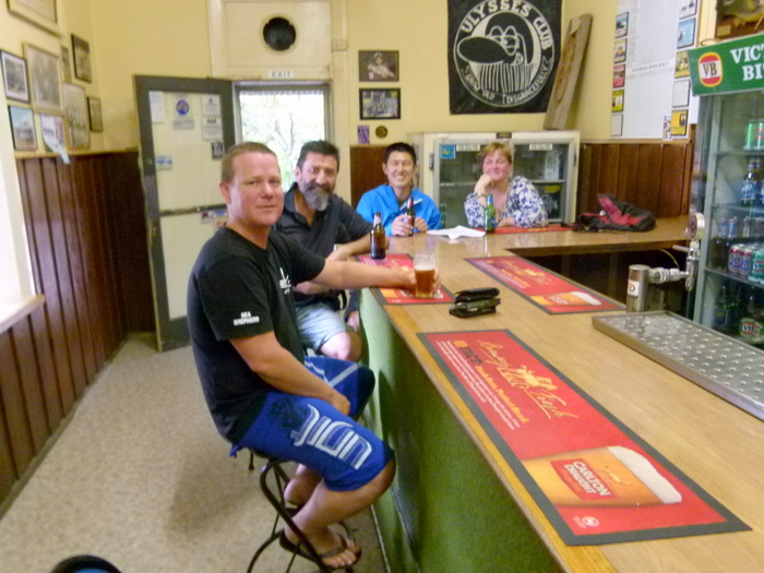 Having a beer with new friends - Pub in Genoa, Victoria - Cycling Across Australia