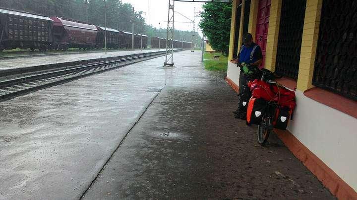 Cycling Latvia. Hail storm