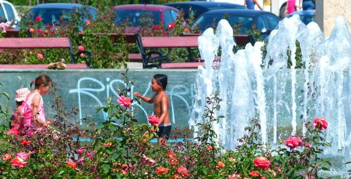 The local gypsys enjoying the fountain in Bacau
