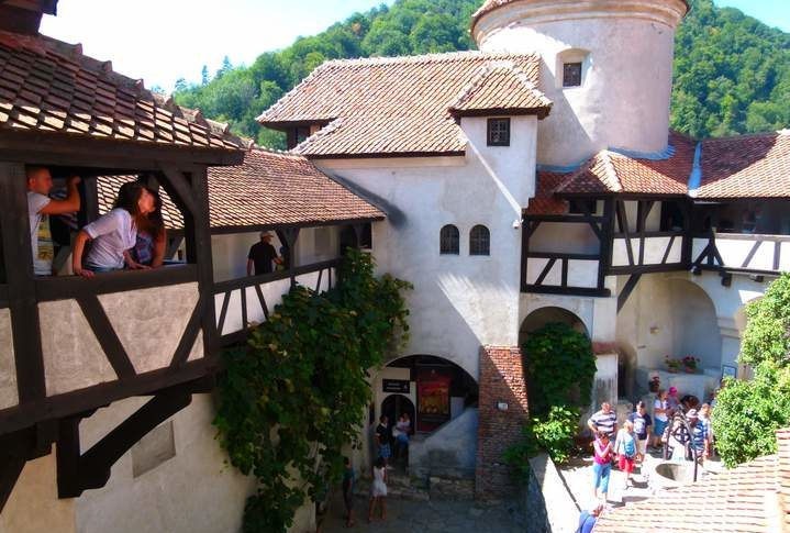 Tourists at Bran Castle, Bran, Transylvania, Romania