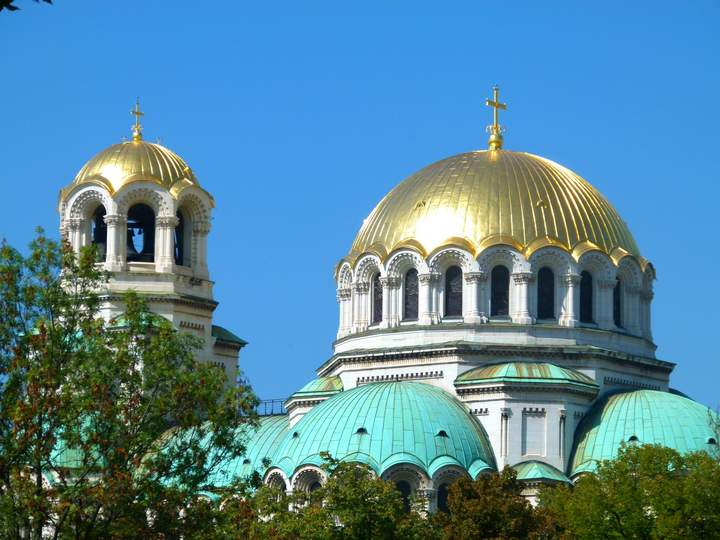 Golden Domes of St. Alexander Nevsky Cathedral. Sofia Bulgaria